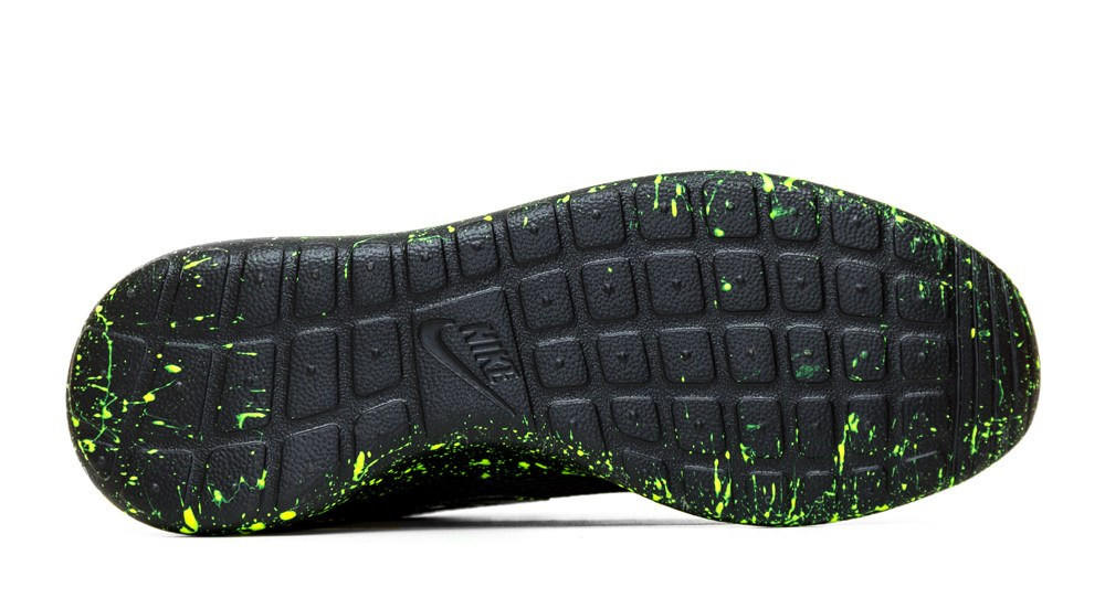 ee9ca01e7df8 Nike Roshe One - Triple Black + Green Paint Color Splatter