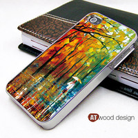 silvery  Iphone case iphone 4 case the best iphone case paint rain and tree image unique design