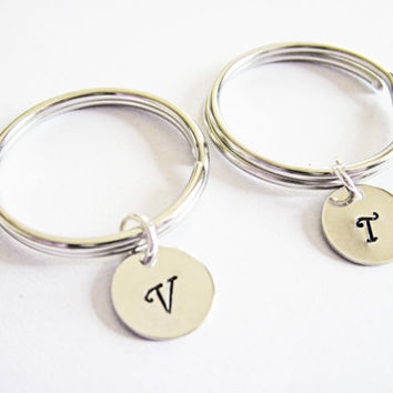 bff keychain, personalized key chain hand stamped initial, sister gift, best friends gift bff, set of two keychain 2, gift for best friend