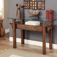 Penny collection transitional style medium weathered oak finish wood and glass top console entry sofa table