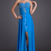 Blue High Low Cocktail Dress Short Prom Dresses Short Evening Dress