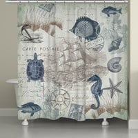 Seaside Postcard Shower Curtain