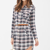 Belted Plaid Shirt Dress