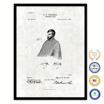 1897 Barber's Cape Vintage Patent Artwork Black Framed Canvas Print Home Office Decor Great Gift for Barber Salon Hair Stylist