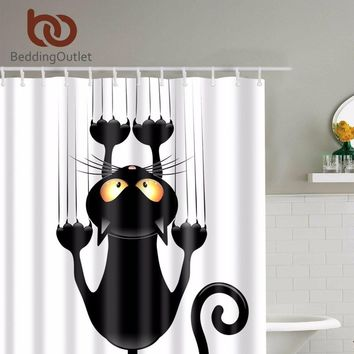 Cute Black Cat Hanging On Shower Curtain
