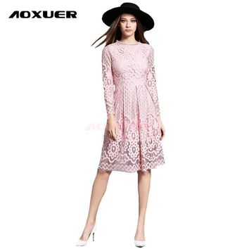 Women Autumn Winter Dress 2017 New Fashion Sexy Hollow Long Sleeves Knee Length Elegant Party Lace Dress Red Black Plus Size 755