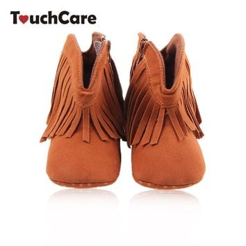 Newborn Cotton Solid Fringe Baby Girl Shoes Toddler Soft Anti-slip Kids Boots Infant H