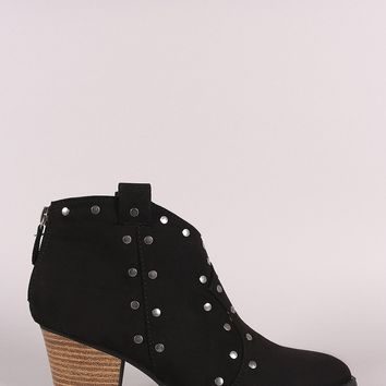 Qupid Suede Studded Almond Toe Booties