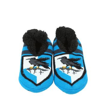 Licensed cool Harry Potter Ravenclaw House Crest Cozy Fluffy Slippers Socks Anti Slip Soles
