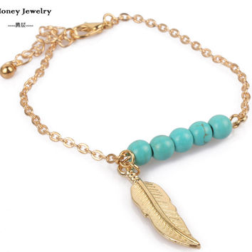 leaf charm bracelets turquoise bead new fashion popular plating gold chain Bracelet & Bangle jewelry for women BR1450