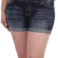 plus size reign dark tinted denim short - debshops.com