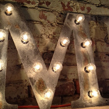 "Wall Letter M light fixture 24""  marquee"