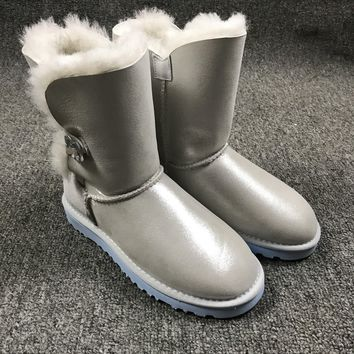 Sale Ugg 1002174 W Irina Clouds Smoke White Classic Bailey Button Bling Boot Snow Boots