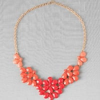 Madison Floral Statement Necklace in Coral                       - Francescas