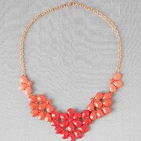 Madison Floral Statement Necklace in Coral
