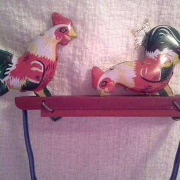 Pecking Chickens Collectible Tin Toy, Vintage Toy, Cool Old Tin Toy