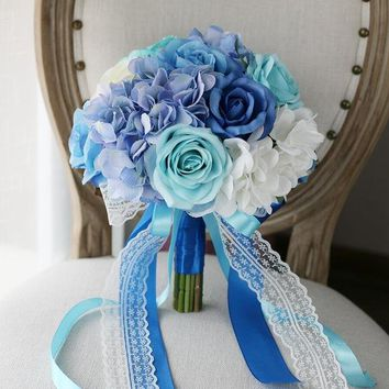 Romantic Blue White Bridal Bouquet For Beach Wedding Flower Bouquet Silk Rose Lace Ribbon Handle Wedding Bouquet Brooch