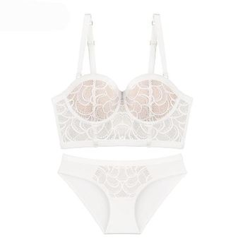 Ladies Sexy Lace Half Cup Push Up Floral Underwire Thin Cotton Women Bra Sets