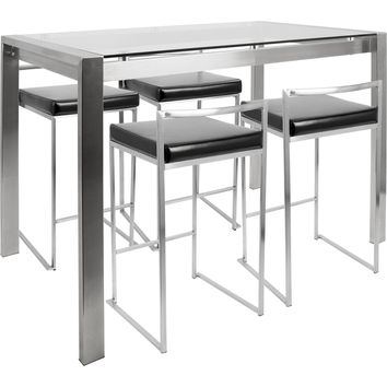 Fuji 5pc Contemporary Counter Height Dining Set, Stainless Steel & Black