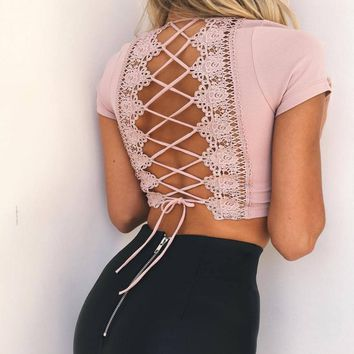 Fashion sexy back lace up type hollow show thin top White-1