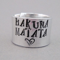 Disney Lion King Ring  Hakuna Matata  Hand Stamped by emerydrive