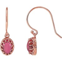 14kt Rose Gold Pink Tourmaline Cabochon Crown Set Dangle Earrings