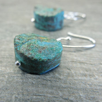 Rustic Teal Earrings, Earthy Jewelry, Raw Chrysocolla, Crusty Earth Stone, Rough Rock, Sterling Silver, Dangle Style, Contemporary Zen