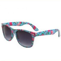 Vintage Tiny Flower Print Frame Sunglasses IXN91