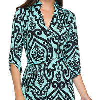 Paisley print split neck shift dress