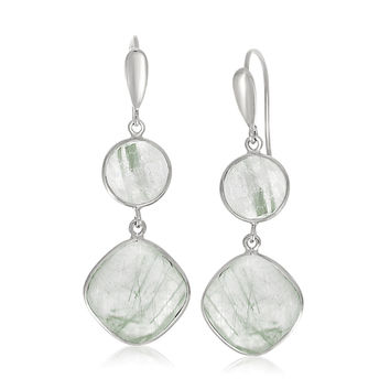 Sterling Silver Rhodium Plated Round and Cushion Green Rutilated Quartz Earrings