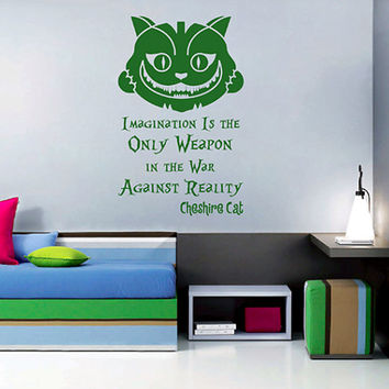 kik2583 Wall Decal Sticker Alice in Wonderland Cheshire Cat quote bedroom children's room