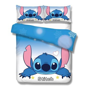 3pcs stitch print duvet cover queen size cartoon bedding set kids adult bedroom decor brief blue bedcover twin full king gift