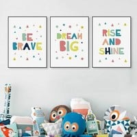 Kawaii Minimalist Colorful Brave Dream Quotes  Big Canvas Poster Print Nursery Wall Art Kids Baby Room Decor Painting No Frame