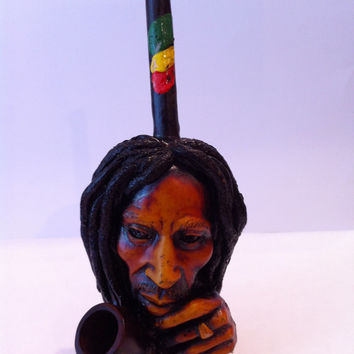 Tobacco Hand Made Pipe, Bob Marley Thinking Design