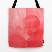 Danish Heart Love Tote Bag by Gréta Thórsdóttir #love #heart #girly #Christmas #red #scarlet #ombre #pattern #kids