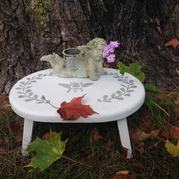 Wood stool painted, shabby: for child, chalk paint, up cycled, white, stencil, vintage, shabby chic, cottage chic, French Country