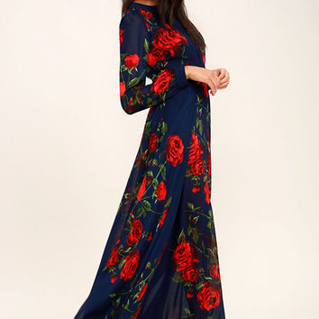 Blossom Buddy Red and Navy Blue Floral Print Maxi Dress