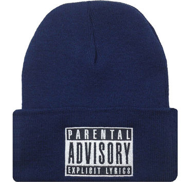 Parental Advisory Explicit Lyric Warning Content Cap Swag Dope Beanie Hat Navy Blue