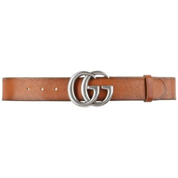 GUCCI Unisex Brown Distressed Leather Palladium Double G Buckle Belt