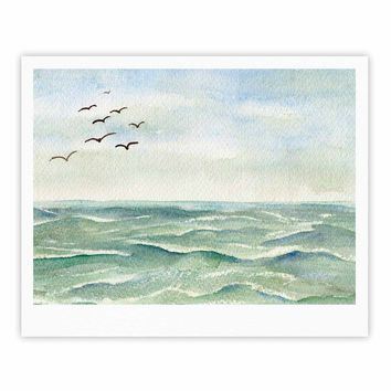"Cyndi Steen ""Flock Flying Low"" Blue Coastal Fine Art Gallery Print"