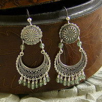 Silver Chandelier Pale Olive Green Luster Bead Earrings