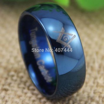Free Shipping YGK JEWELRY Hot Sale 8MM Comfort Fit Freemason Masonic Lord Men's Blue Dome Tungsten Wedding Ring