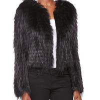Burberry London Collarless Fox Fur Jacket, Black