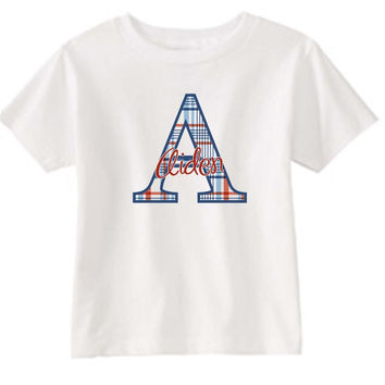 Patriotic Initial on Personalized White T-Shirt