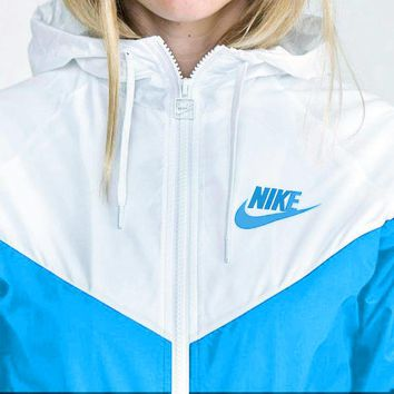 NIKE Simple Women Men Long Sleeve Print Hooded Zipper Sweatshirt Jacket Coat Sky Blue