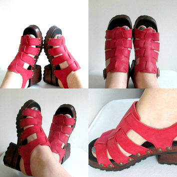 Red Leather Chunky Platform Sandals Vintage Candies Strappy Shoes Size 6