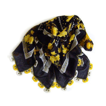 Traditional Turkish Yemeni Rayon (artificial silk) Scarf With Crocheted Lace, Black / White / Yellow / Green Floral Pattern