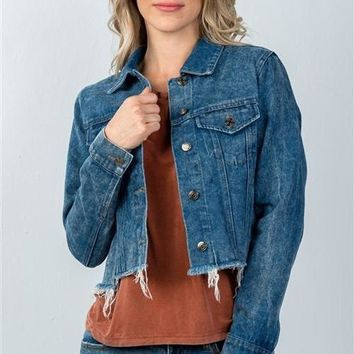 Floral Embroidered Denim Jacket w Frayed Hem