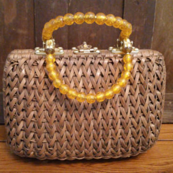 Vintage Brown Woven Basket Style Purse With Beaded Handles