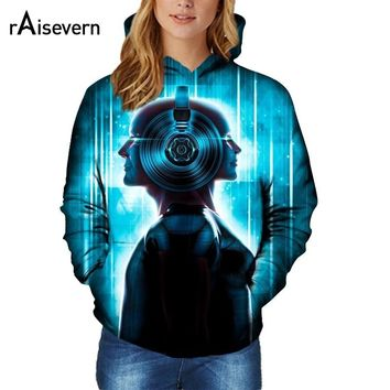 Raisevern 2017 Women 3D Pullovers Hoodies Love Music Print Graphic Sweatshirts Unisex Hip Hop Sweat Shirt Streetwear Plus Size